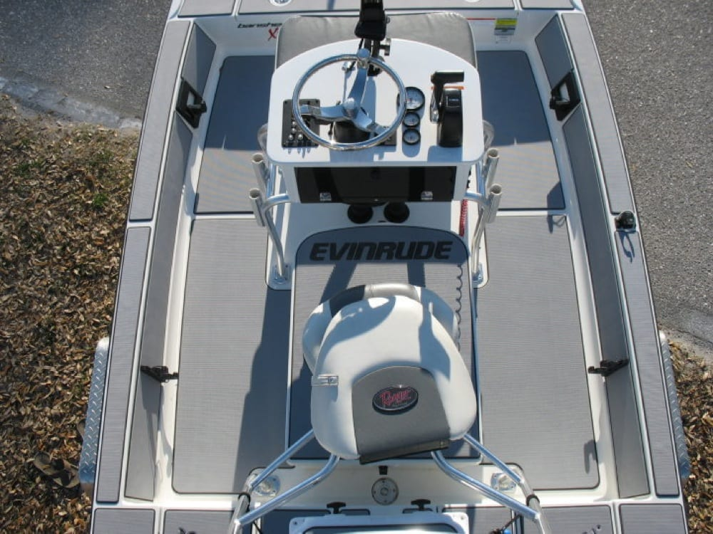 This is an after shot of the cockpit. We changed out the stock side gunnel pads to match the rest of the boat.