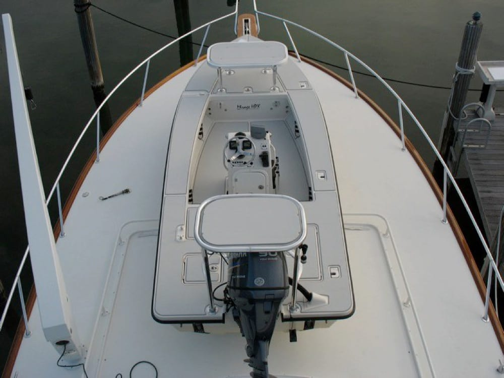 The view looking down from the upper helm