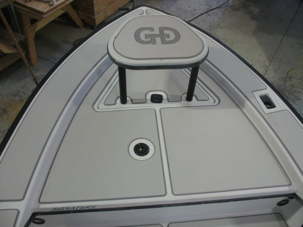 After SeaDek with a custom logo on the casting platform