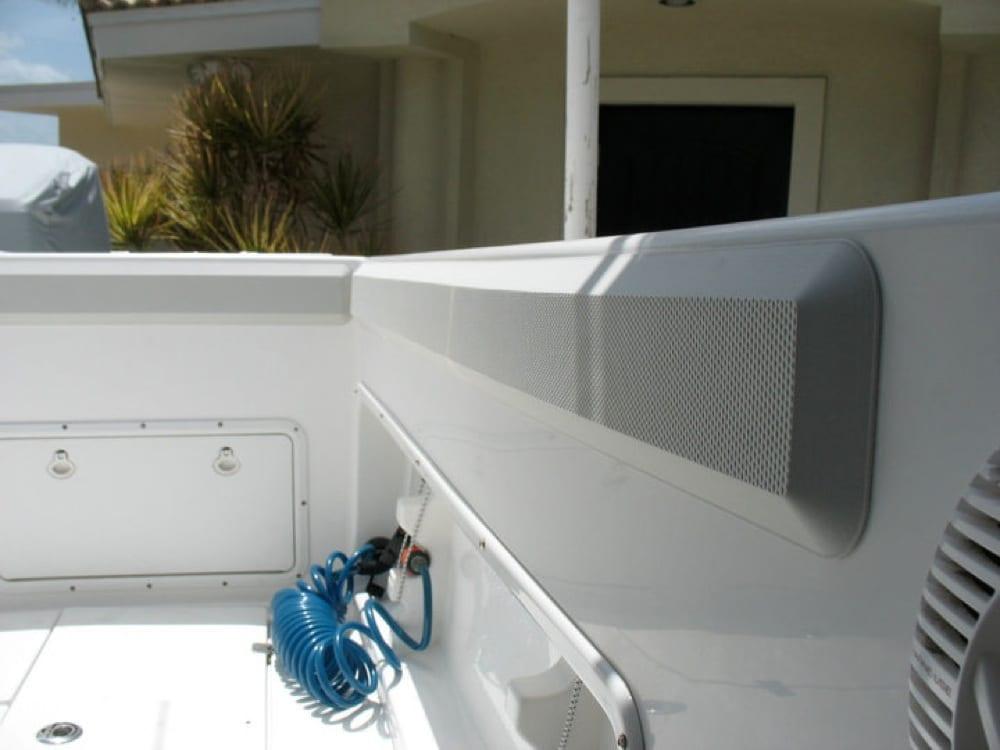 Port side gunnel after custom SeaDek bolster pads