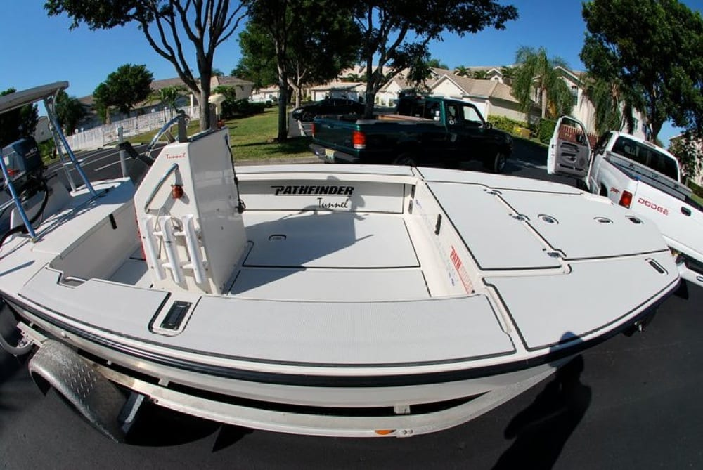 A wide angle shot of the boat