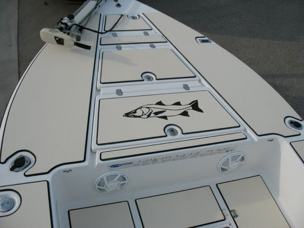 The front deck with the snook logo