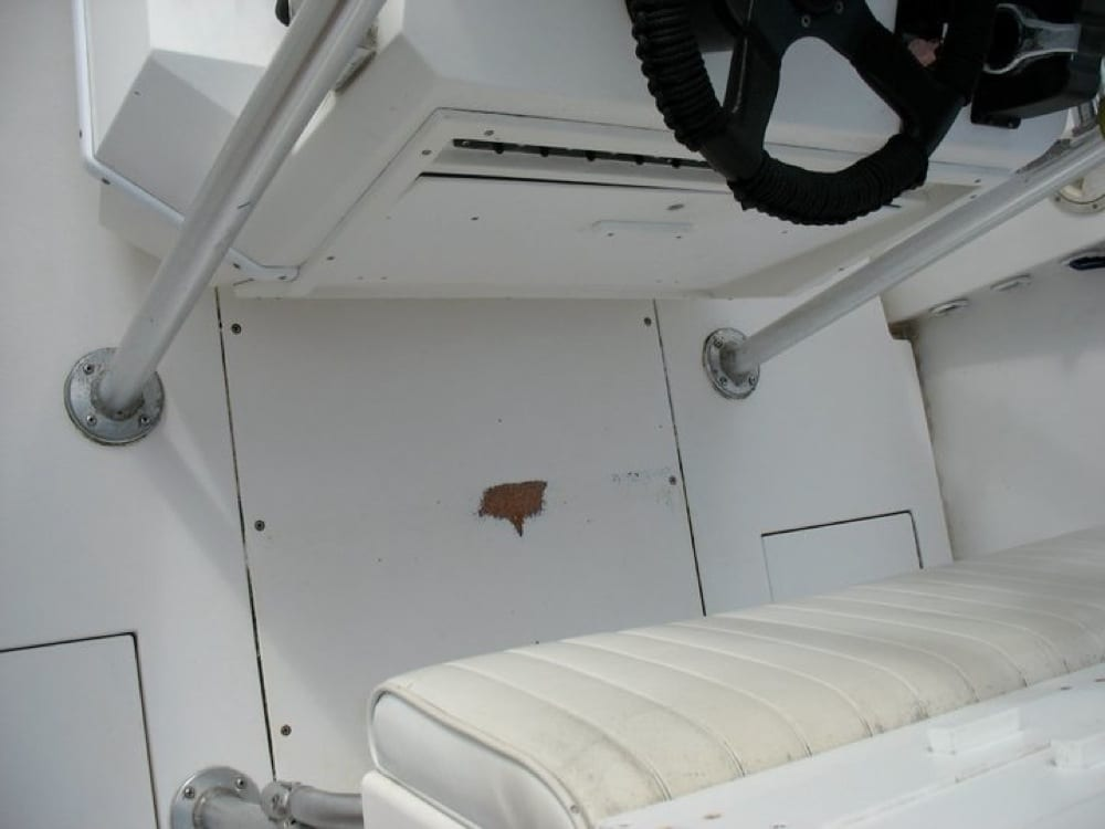 Helm area where non skid and gelcoat were gone