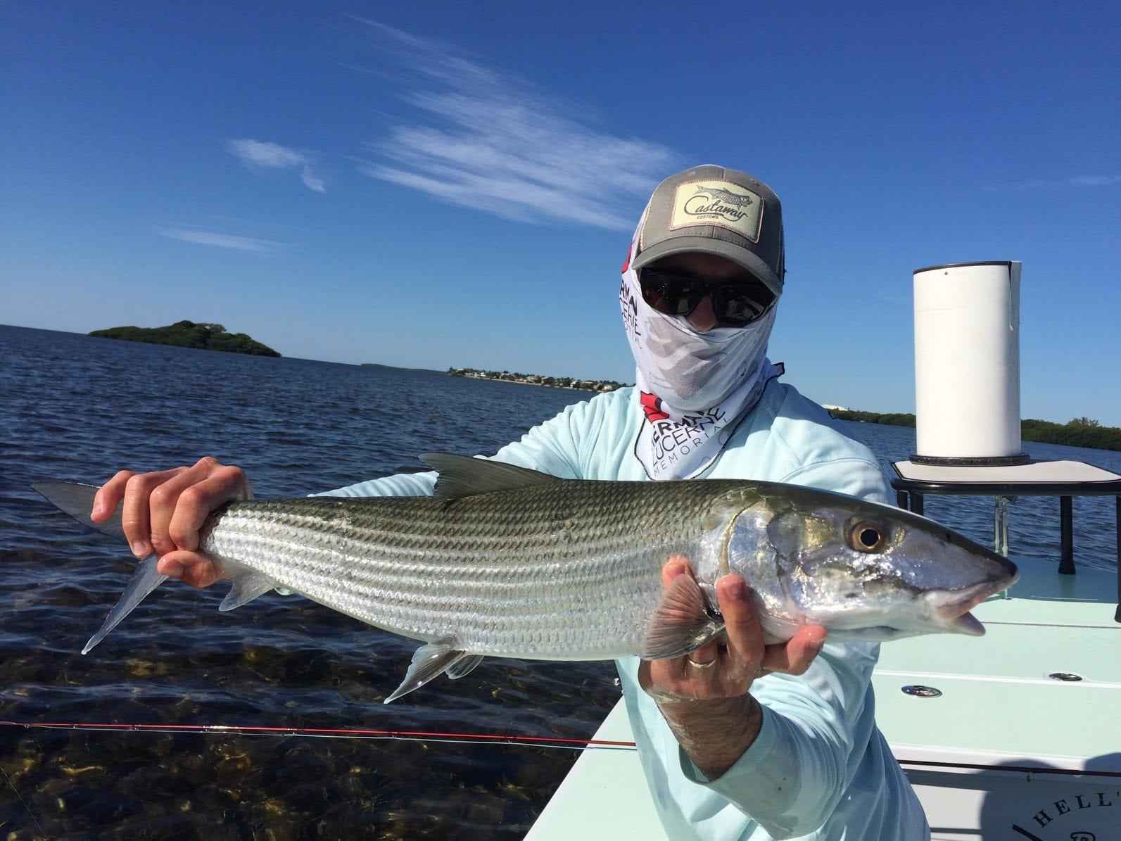 Paul Puckett Bonefish Logo Perfomance Long Sleeve Castaway Customs Apparel