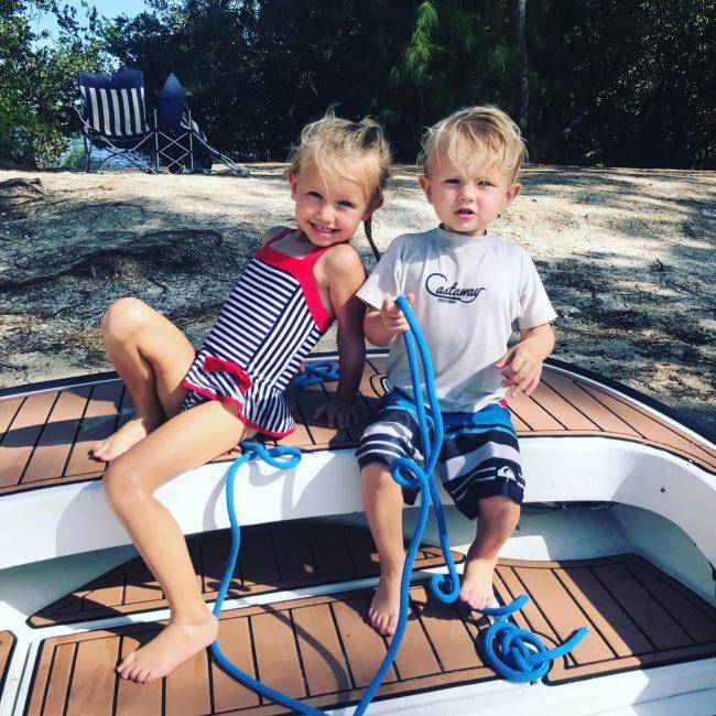 Castaway Customs Boston Whaler Montauk Custom SeaDek Faux Teak Kids Boating