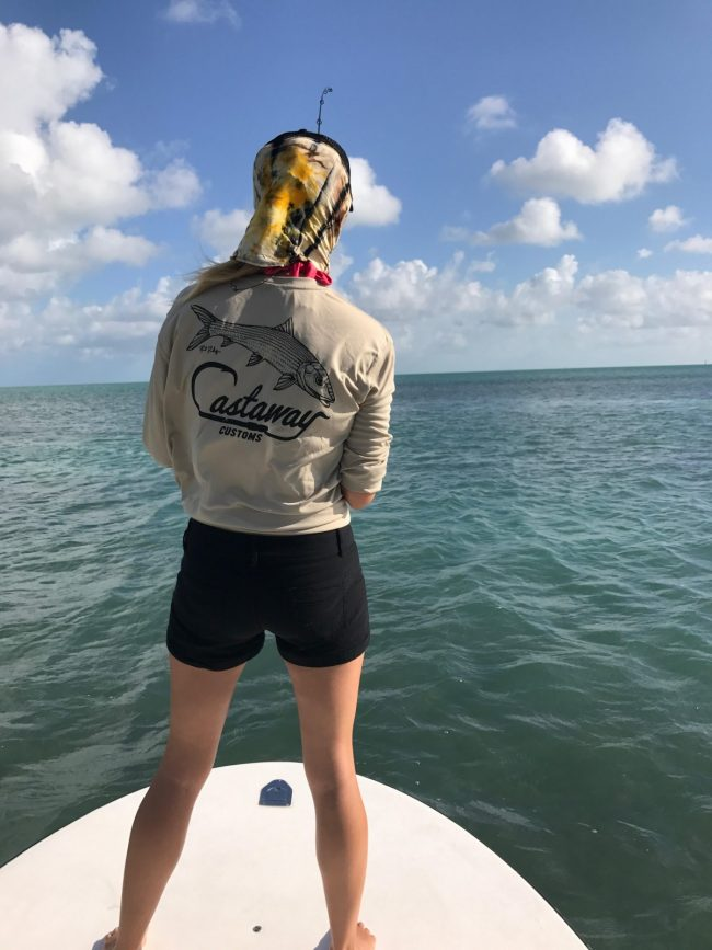 Paul Puckett Bonefish Logo Womens Perfomance Long Sleeve Castaway Customs Apparel