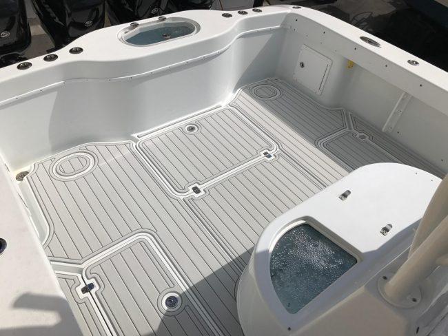 Castaway Customs Yellowfin Yachts Custom SeaDek Offshore Powerboat Faux Teak Marine Flooring