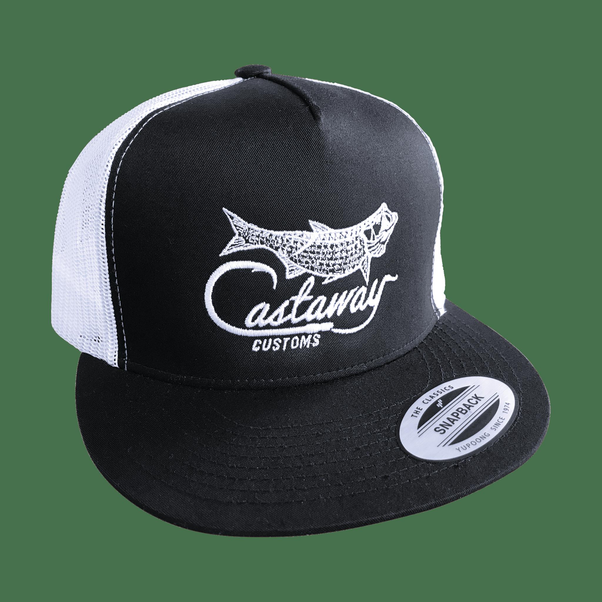 Tarpon flat bill trucker hat castaway customs for Flat bill fishing hats